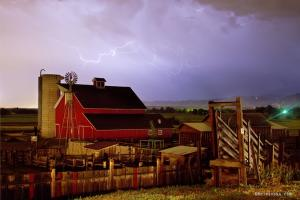Lightning Strikes Over The Farm