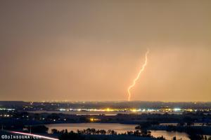 Lightning Striking Over Coot Lake and Boulder Reservoir