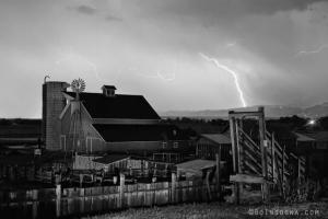 McIntosh Farm Lightning Thunderstorm Black and White
