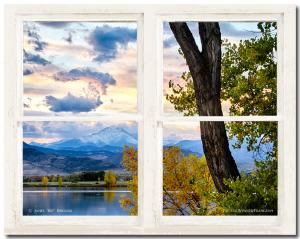 For Immediate Release New Scenic Rocky Mountains Lake Autumn Rustic White Washed Window View Art Print